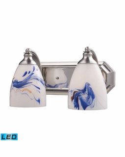 570-2N-MT-LED Elk Bath And Spa 2 Light LED Vanity In Satin Nickel And Mountain Glass