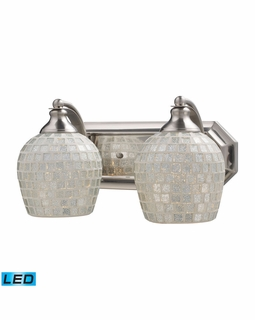 570-2N-SLV-LED Elk Bath And Spa 2 Light LED Vanity In Satin Nickel And Silver Glass