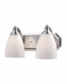 570-2N-SW Elk Bath And Spa 2 Light Vanity In Satin Nickel And Snow White Glass