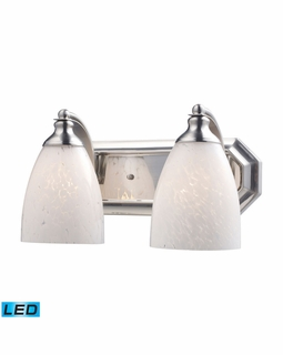 570-2N-SW-LED Elk Bath And Spa 2 Light LED Vanity In Satin Nickel And Snow White Glass