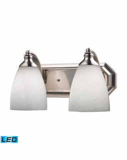 570-2N-WH-LED Elk Bath And Spa 2 Light LED Vanity In Satin Nickel And Simple White Glass