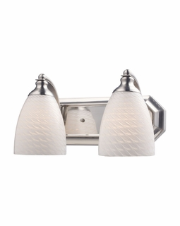 570-2N-WS Elk Bath And Spa 2 Light Vanity In Satin Nickel And White Swirl Glass