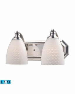 570-2N-WS-LED Elk Bath And Spa 2 Light LED Vanity In Satin Nickel And White Swirl Glass