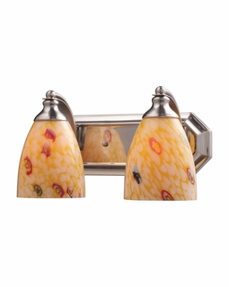 570-2N-YW Elk Bath And Spa 2 Light Vanity In Satin Nickel And Yellow Glass