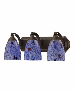 570-3B-BL Elk Bath And Spa 3 Light Vanity In Aged Bronze And Starburst Blue Glass