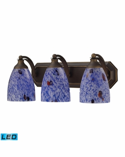570-3B-BL-LED Elk Bath And Spa 3 Light LED Vanity In Aged Bronze And Starburst Blue Glass