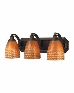 570-3B-C Elk Bath And Spa 3 Light Vanity In Aged Bronze And Cocoa Glass