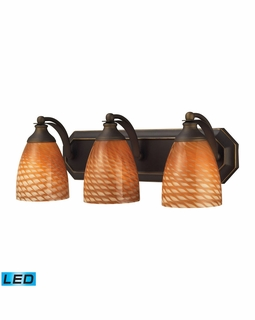 570-3B-C-LED Elk Bath And Spa 3 Light LED Vanity In Aged Bronze And Cocoa Glass
