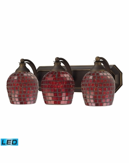 570-3B-CPR-LED Elk Bath And Spa 3 Light LED Vanity In Aged Bronze And Copper Glass