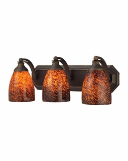 570-3B-ES Elk Bath And Spa 3 Light Vanity In Aged Bronze And Espresso Glass