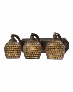 570-3B-GLD Elk Bath And Spa 3 Light Vanity In Aged Bronze And Gold Leaf Glass