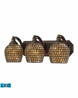 570-3B-GLD-LED Elk Bath And Spa 3 Light LED Vanity In Aged Bronze And Gold Leaf Glass