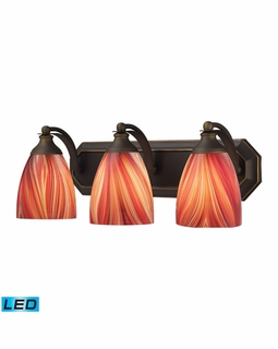 570-3B-M-LED Elk Bath And Spa 3 Light LED Vanity In Aged Bronze And Multi Glass