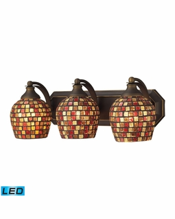 570-3B-MLT-LED Elk Bath And Spa 3 Light LED Vanity In Aged Bronze And Multi Fusion Glass