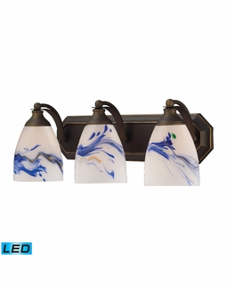 570-3B-MT-LED Elk Bath And Spa 3 Light LED Vanity In Aged Bronze And Mountain Glass