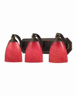 570-3B-SC Elk Bath And Spa 3 Light Vanity In Aged Bronze And Scarlet Red Glass
