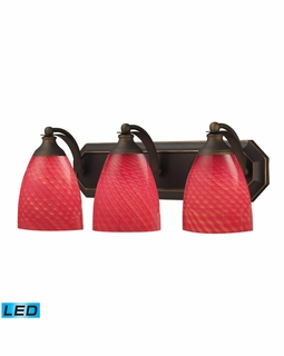 570-3B-SC-LED Elk Bath And Spa 3 Light LED Vanity In Aged Bronze And Scarlet Red Glass
