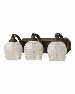 570-3B-SLV Elk Bath And Spa 3 Light Vanity In Aged Bronze And Silver Glass