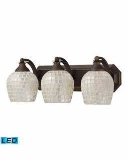570-3B-SLV-LED Elk Bath And Spa 3 Light LED Vanity In Aged Bronze And Silver Glass