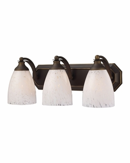 570-3B-SW Elk Bath And Spa 3 Light Vanity In Aged Bronze And Snow White Glass