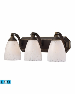 570-3B-SW-LED Elk Bath And Spa 3 Light LED Vanity In Aged Bronze And Snow White Glass