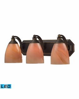570-3B-SY-LED Elk Bath And Spa 3 Light LED Vanity In Aged Bronze And Sandy Glass