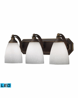 570-3B-WH-LED Elk Bath And Spa 3 Light LED Vanity In Aged Bronze And Simple White Glass
