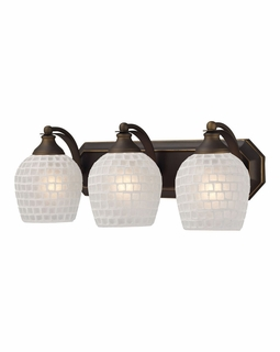 570-3B-WHT Elk Bath And Spa 3 Light Vanity In Aged Bronze And White Glass