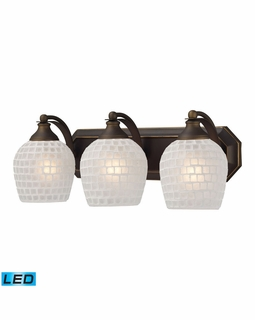 570-3B-WHT-LED Elk Bath And Spa 3 Light LED Vanity In Aged Bronze And White Glass