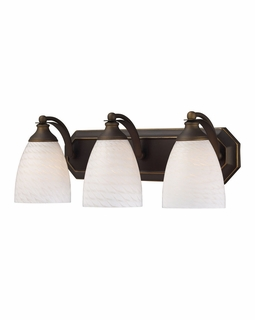 570-3B-WS Elk Bath And Spa 3 Light Vanity In Aged Bronze And White Swirl Glass