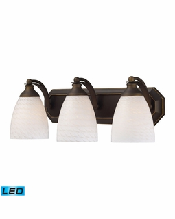 570-3B-WS-LED Elk Bath And Spa 3 Light LED Vanity In Aged Bronze And White Swirl Glass