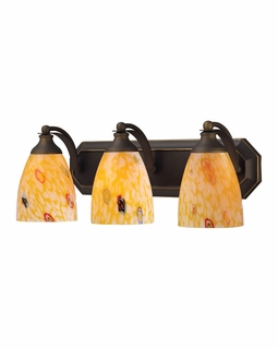 570-3B-YW Elk Bath And Spa 3 Light Vanity In Aged Bronze And Yellow Glass