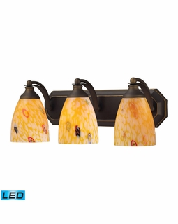570-3B-YW-LED Elk Bath And Spa 3 Light LED Vanity In Aged Bronze And Yellow Glass
