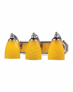 570-3C-CN Elk Bath And Spa 3 Light Vanity In Polished Chrome And Canary Glass