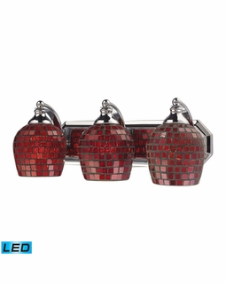 570-3C-CPR-LED Elk Bath And Spa 3 Light LED Vanity In Polished Chrome And Copper Glass