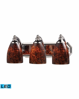 570-3C-ES-LED Elk Bath And Spa 3 Light LED Vanity In Polished Chrome And Espresso Glass