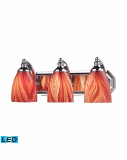 570-3C-M-LED Elk Bath And Spa 3 Light LED Vanity In Polished Chrome And Multi Glass