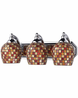 570-3C-MLT Elk Bath And Spa 3 Light Vanity In Polished Chrome And Multi Fusion Glass