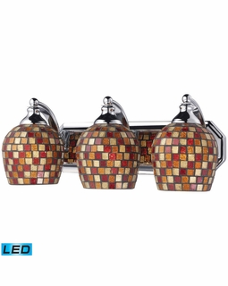 570-3C-MLT-LED Elk Bath And Spa 3 Light LED Vanity In Polished Chrome And Multi Fusion Glass