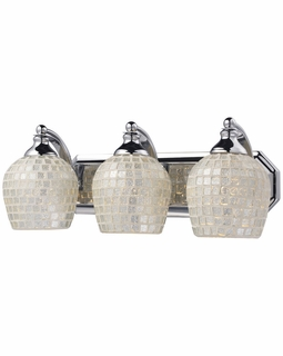 570-3C-SLV Elk Bath And Spa 3 Light Vanity In Polished Chrome And Silver Glass