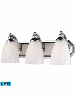 570-3C-SW-LED Elk Bath And Spa 3 Light LED Vanity In Polished Chrome And Snow White Glass