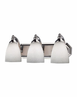 570-3C-WH Elk Bath And Spa 3 Light Vanity In Polished Chrome And Simple White Glass