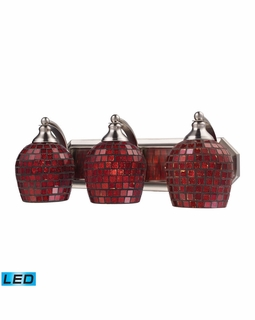 570-3N-CPR-LED Elk Bath And Spa 3 Light LED Vanity In Satin Nickel And Copper Glass