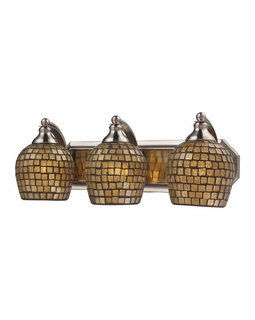 570-3N-GLD Elk Bath And Spa 3 Light Vanity In Satin Nickel And Gold Leaf Glass