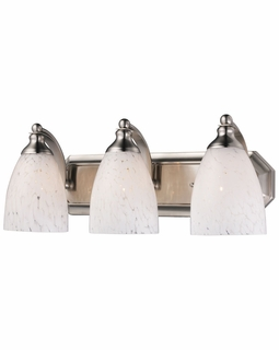 570-3N-SW Elk Bath And Spa 3 Light Vanity In Satin Nickel And Snow White Glass