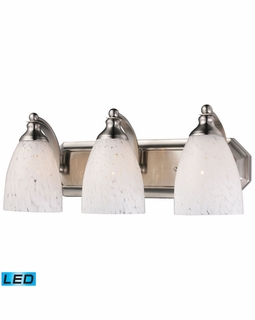 570-3N-SW-LED Elk Bath And Spa 3 Light LED Vanity In Satin Nickel And Snow White Glass