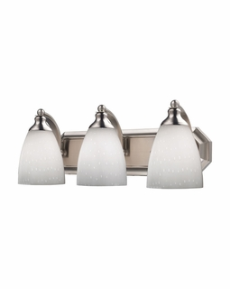 570-3N-WH Elk Bath And Spa 3 Light Vanity In Satin Nickel And Simple White Glass