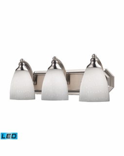 570-3N-WH-LED Elk Bath And Spa 3 Light LED Vanity In Satin Nickel And Simple White Glass
