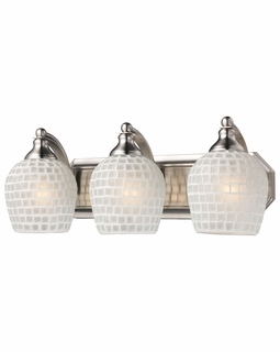 570-3N-WHT Elk Bath And Spa 3 Light Vanity In Satin Nickel And White Glass