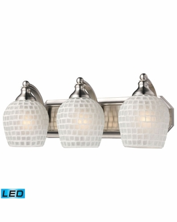 570-3N-WHT-LED Elk Bath And Spa 3 Light LED Vanity In Satin Nickel And White Glass